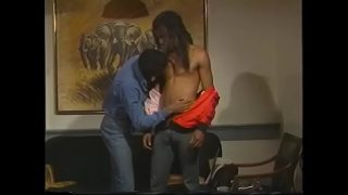 Ebony ex-jailbird with long hair pokes his fellow inmate in his chocolate eye